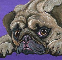Fawn Pug Dog Art Original Canvas Magnet Painting -C. Smale #Miniature