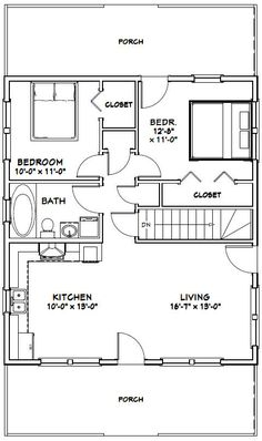 28x32 house 28x32h2k 848 sq ft excellent floor plans - Drawing House Plans