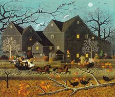 Charles Wysocki Hellraisers passing by the house of seven gables