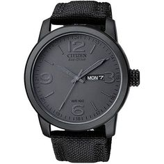 This men's eco-drive watch from Citizen features a black IP stainless steel case with a coordinating black canvas strap. The black dial sets the stage for black steel hands and numerals for easy time-telling.