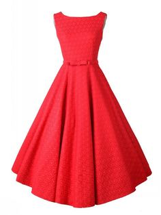 Red, Vintage, Sleeveless, Midi Dress, Party Dress