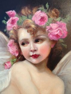 Oil Painting Vintage Style Antique Pink Roses Cherub Angel Cupid Portrait Chic | eBay