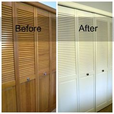 Clockworkinteriors.com   Spraying Louvered Closet Doors.