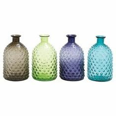 """Add a splash of color to your decor with this textured glass bottle, perfect displayed in the kitchen window or holding dried flowers on your mantel.   Product: Set of 4 bottlesConstruction Material: GlassColor: Dark brown, green, purple and blueFeatures: Textured exteriorDimensions: 12"""" H x 7"""" Diameter"""
