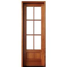 DSA Doors. Alexandria TDL 6LT 8/0 E-01 Alexandria Doors 4-Lite TDL Mahogany Entry Door with Clear Beveled or Flemish Low-E Glass