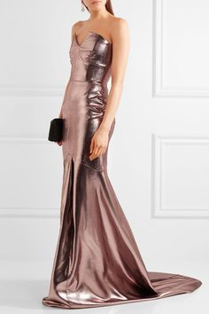 Rose gold jacquard Zip fastening along back Fabric3: 48% silk, 33% wool, 19% polyester; fabric2: 63% viscose, 34% acetate, 3% elastane; lining1: 93% silk, 7% elastane; lining2: 100% silk Dry clean Made in the UK Bridesmaid Dresses, Prom Dresses, Formal Dresses, Lame Fabric, Gowns Of Elegance, Elegant Gowns, Structured Dress, Modern Princess, Perfect Pink