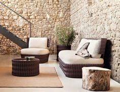 Outdoor furniture combined with a Log