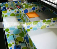 Drawer organization, cereal boxes and wrapping paper.