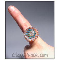 Blown Glass Ring Sea Anemone boro lampwork ring - Glass Peace glass jewelry (5438) via Etsy