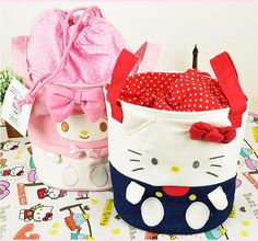 8fe0a821b612 Small Size Kawaii Bowknot Hello Kitty My Melody Barrel Design Canvas Makeup Storage  Bag Organizer