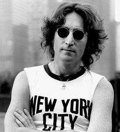 John Lennon, 1968 WEARING NEW YORK CITY T-SHIRT and round SUNGLASSES