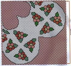 gráficos: Flores em ponto xadrez-grafico e receita Christmas Tree, Kids Rugs, Holiday Decor, Image, Crochet Fish, Crochet Cap, Cross Stitch Embroidery, Manualidades, Flowers