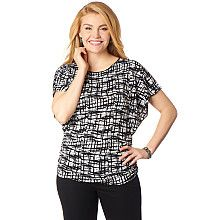 Stay comfortable and look professional with this Shirred Geo Print Top! #workstyle #fashion