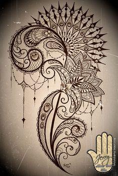 mandala and lace thigh tattoo idea design with lotus flower. By Dzeraldas Kudrevicius Atlantic Coast Tattoo Cornwall #hip_thigh_tattoo #ThighTattooIdeas