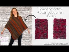 How To Turn 2 Rectangles Into a Poncho (English Subtitles) Loom Knitting, Baby Knitting, Garnstudio Drops, Knitting Patterns, Crochet Patterns, Origami Step By Step, Crochet Poncho, Poncho Sweater, Pullover