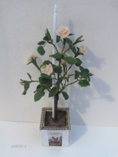 Ros - tutorial rose tree from cold porcelain