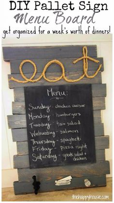 DIY Pallet sign Ideas -DIY Pallet Sign Menu Board-  Upcycled Pallet Art Cool Homemade Wall Art Ideas and Pallet Signs for Bedroom, Living Room, Patio and Porch. Creative Rustic Decor Ideas on A Budget http://diyjoy.com/diy-pallet-signs-ideas