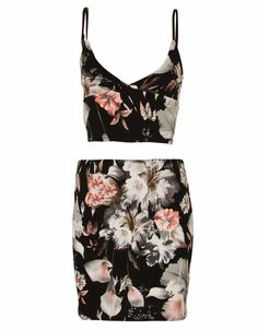 BLACK TWO PIECE BLACK FLORAL PRINT CROP TOP AND MINI SKIRT £ 11.95