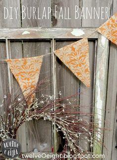 DIY Fall Burlap Banner #fall #bulap #banner #bunting twelveOeight