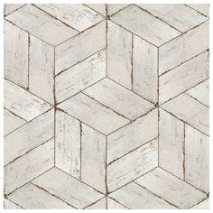 SomerTile 7.125x16.375-inch Lambris Naveta Blanc Porcelain Floor and Wall Tile (13/Case, 11.07 sqft.