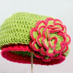 Gorgeous Beanie with Contrasting Trim Flower: free pattern