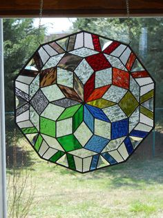 Colorful Kaleidoscope Stained Glass Panel
