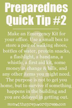 Emergency Preparedness Quick Tip: Office Emergency Kit #officepreparedness #preparedness #disasterpreparedness