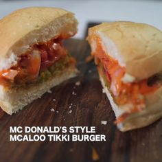 Mcdonalds Style Aloo Tikki Burger recipe by BetterButter Editorial at BetterButter Maggi Recipes, Aloo Recipes, Pakora Recipes, Paratha Recipes, Chaat Recipe, Veg Recipes, Spicy Recipes, Indian Food Recipes, Cooking Recipes