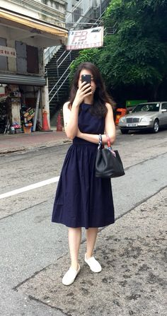 Zara navy blue dress, Comme Ca Store slip on, Hermes Garden Party TPM.