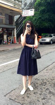 Zara navy blue dress, Comme Ca Store slip on, Hermes Garden Party TPM.