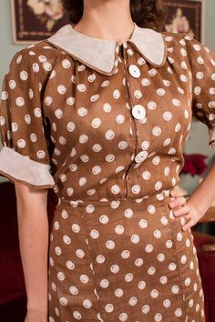56f07ac4a Vintage 1930s Dress - Adorable Brown and White Polka Dot Day Dress with  Sheer White Collar and Cuffs - If You Were Mine