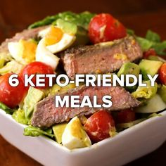 6 Keto-Friendly Meals #salad #protein #avocado #bread Salad Recipes, Diet Recipes, Cooking Recipes, Healthy Recipes, Ketogenic Recipes, Diet Snacks, Healthy Snacks, Healthy Eating, Enjoy Your Meal