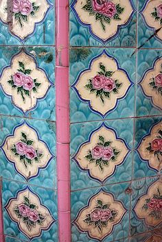 Cuban Tiles by Kelly Wisker Handmade tiles can be colour coordinated and customized re. shape, texture, pattern, etc. by ceramic design studios