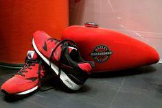 #display window #indoor #interior #motor #red #shoes #shop #sport