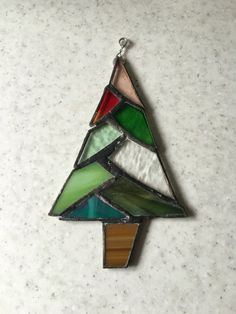e48a5e98f16d2a Red and green stained glass christmas tree by Wendysglasshouse Stained Glass  Designs