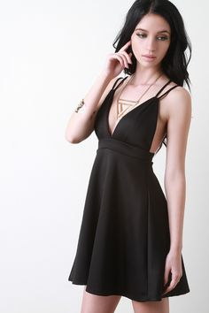 Clea Bardot Plunge High Low Skater Dress  07a25318c