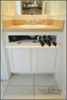Ideas Diy Bathroom Storage Cabinet Under Sink Drawers Under Cabinet Storage, Under Sink Organization, Storage Cabinets, Bathroom Organization, Organization Ideas, Organizing, Hair Tool Storage, Hair Tool Organizer, Tool Drawers