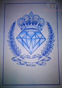 Blue Ink Outline Diamond Tattoo Design