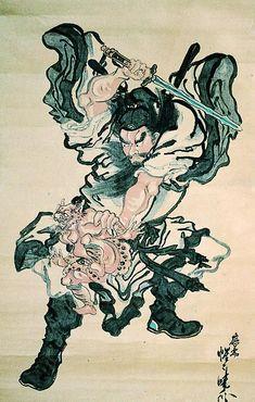 河鍋暁斎 Asian Artwork, Japanese Artwork, Japanese Tattoo Art, Japanese Painting, Japanese Prints, Hokusai, Japanese Warrior, Stoner Art, Japan Tattoo