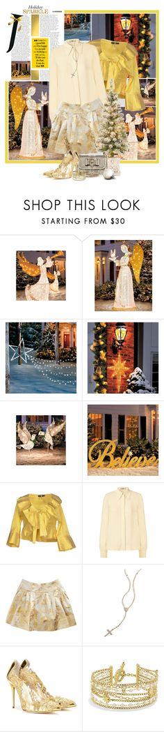 """Holiday Sparkle"" by summersunshinesk7 ❤ liked on Polyvore featuring Improvements, Orla Kiely, Rochas, Christian Louboutin, Lana, Oscar de la Renta, David Yurman, Christmas, gold and winter2015"