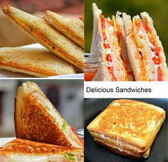 Top 5 Indian Sandwich Recipes with step pictures. Top 5 Indian Sandwich dishes are becoming very popular day by day and most of the Indian recipes are vegetarian but you can also find my non vegeta… Breakfast Recipes, Snack Recipes, Cooking Recipes, Veg Recipes, Cooking Time, Indian Snacks, Indian Food Recipes, Best Sandwich Recipes, Veg Sandwich