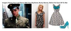 """""""Imagine Having Your Last Dance With Your Boyfriend, Bucky Barnes, Before He Goes Off To War"""" by alyssaclair-winchester ❤ liked on Polyvore featuring Gianvito Rossi, imagine, Avengers, marvel, buckybarnes and TheWinterSoldier"""