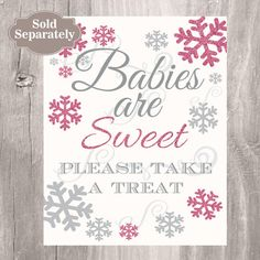Winter Baby Shower, Wishes for Baby,  Printable Snowflake Glitter Pink and Grey Baby Shower Wishes for Baby Girl, Instant Download  This is a PRINTABLE DIY listing and no p... #etsy