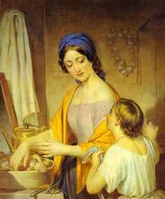 """Alexy Tyranov, Young Housewife, c1840  """"Homeschooling as Vocation"""""""