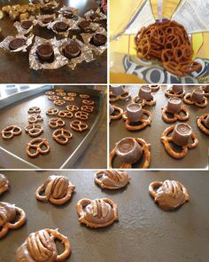 Pretzel hearts...how-to and recipe using rolos, pecans, and pretzels.