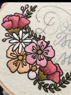 floral embroidery with black outlines