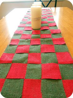 Quick and easy Christmas Burlap table runner tutorial. Only cost about $6!  After Christmas, could be any colors!