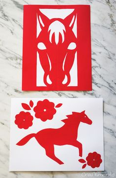 Craftiments:  Chinese New Year paper cutting craft for kids, includes free printable patterns for year of the horse