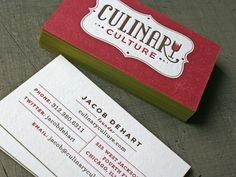 Culinary Culture -- business card design. Great identity collateral.