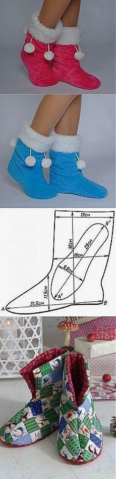 Шьем домашнюю теплую обувку. Только выкройка | Умелые ручки